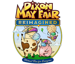 Dixon May Fair Reimagined Virtual Fun for Everyone | Pig and cow and sheep with VR goggles and masks